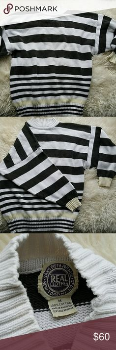 Saks 5th avenue 90s striped sweater Vintage saks 80s/90s sleeves, over sized knit sweater made 100 cotton. Slight marks and pulling shown in photos. Other than that great shape, good materials make this sweater last and last. Dark but faded black on white and one cream  stripe at bottom Saks Fifth Avenue Sweaters Crew & Scoop Necks
