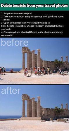 Delete tourists from your travel photos using Photoshop. I don't have Photoshop, but if I ever do, this will come in handy! Photo Hacks, Photo Tips, Photo Ideas, Dicas Do Photoshop, Photoshop Script, Photoshop Actions, Photoshop Elements, Learn Photoshop, Funny Photoshop
