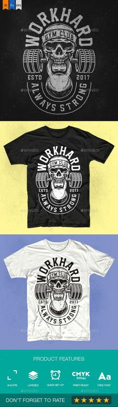 Workhard Gym Club - Sports & Teams T-Shirts Club Shirts, Team T Shirts, Shirt Print Design, Shirt Designs, Tattoo Designs, Gym Singlets, Fitness Logo, Gym Fitness, Gym Club