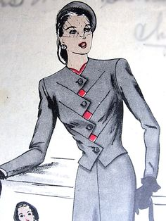1940s FILM NOIR Style Unique Suit and Dickey Pattern VOGUE Special Design 4553 Diagonal Zig Zag Closing Jacket, Slim Skirt Bust 30 Vintage Sewing Pattern