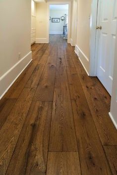 I love wide plank wood. The Olde World look has been growing steadily in popularity and our wide plank livesawn White Oak offered with custom finishing options has been a real hit! Contact us for samples in your choice of stain and finish. House Design, House, House Flooring, Hardwood Floors, New Homes, Home Renovation, Oak Hardwood Flooring, Flooring, Reclaimed Wood Floors