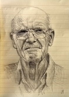 This is my father in law. When I started, I'd not drawn for a long time, hence my choice of really cheap paper. Its a confidence booster for me, as. Father in law Human Figure Sketches, Figure Sketching, Figure Drawing, Portraits, Portrait Art, Pencil Art Drawings, Drawing Sketches, Drawing Heads, Face Sketch