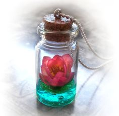 Lotus flower on a magic lake bottle necklace vial by UraniaArt, $36.00