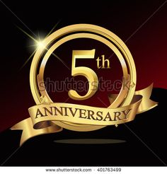 5th golden anniversary logo celebration with ring and ribbon. Vector template elements for your birthday party.