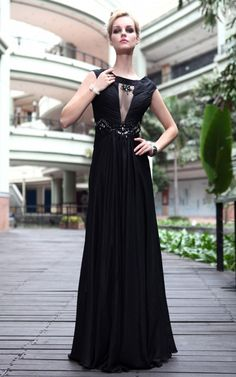 Blue Cocktail Prom chiffon V-neck Draped Party Beading Formal Long Evening Dress