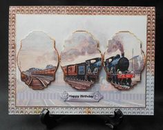 vintage steam train panel card on Craftsuprint designed by Angela Wake - made by Michelle  Chivers -