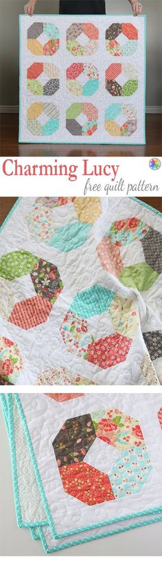 Charming Lucy a free charm pack baby quilt pattern from Andy of A Bright Corner