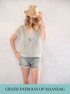 Crochet pattern Shirt- Haakpatroon Shirt Crochet patterned ladies shirt with short sleeves by Phil coton 3 - Pull Crochet, Gilet Crochet, Love Crochet, Crochet Yarn, Crochet Hooks, Knit Crochet, Christmas Knitting Patterns, Crochet Patterns, Make Your Own Clothes