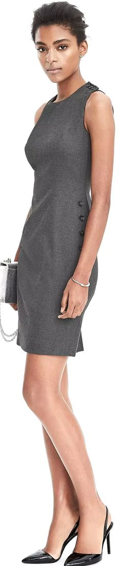 Banana Republic Sleeveless Side Button Sheath Dress