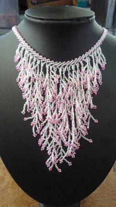 Pink Ice Fringe Necklace by BellaDonnaBead on Etsy, Bead Jewellery, Seed Bead Jewelry, Beaded Jewelry, Beaded Bracelets, Seed Beads, Jewlery, Fringe Necklace, Seed Bead Necklace, Diy Necklace