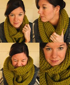 On the wings of a dove: Infinity Scarf Pattern (ch. 150, sc for 12 rows for chunky scarf). Definitely will make another one!