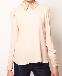 Pink Embroidery Lapel Long Sleeve Chiffon Blouse #SheInside