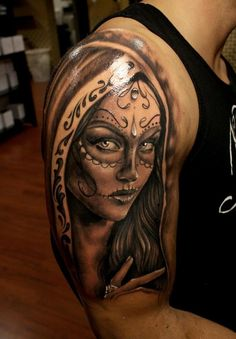 Mexican tattoo design with realistic woman's face