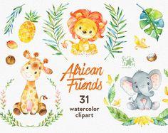 Amigos africanos. Acuarela animales gráfico, León, elefante, jirafa, coco, piña, plátano, saludo, invitación, flores, flores, guirnalda
