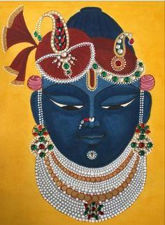 Ganesha Art, Krishna Art, Krishna Images, Radhe Krishna, Pichwai Paintings, Indian Art Paintings, Madhubani Art, Madhubani Painting, Krishna Painting