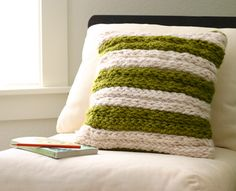 Finger-knit pillow