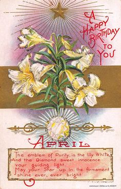 Glitter Happy Birthday Postcard April White Lily and Diamond~108203 #Birthday