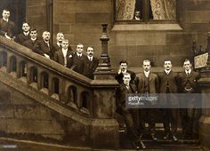An informal photograph of the England team on the steps of St Enoch's hotel in Glasgow following the International match against Scotland which England won 1-0, 9th April 1904. Left-right: Steve Bloomer (Derby County), Jones, Bernie Wilkinson (Sheffield United), Alex Leake (Aston Villa), Alf Common (Sheffield United), Fred Blackburn (Blackburn Rovers), Jock Rutherford (Newcastle United), Alfred Davis (linesman), Vivian Woodward (Tottenham Hotspur), Herbert Burgess (Manchester City), Sam…