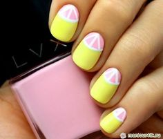 Bright & colorful grapefruit inspired nail art.