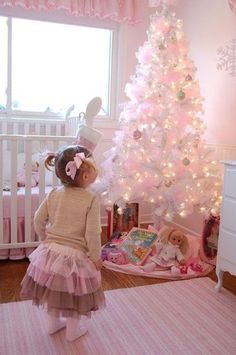 Christmas Kids room pastel pink decor, 2013 Christmas home decor for children, pastel pink Christmas tree and socking kids