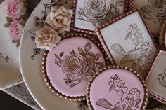 Vintage garden-themed cookies by Julia M. Usher . . . seriously into rubber-stamping of cookies these days.