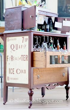 Antique Dresser Turned Portable Patio Bar Bliss-Ranch.com