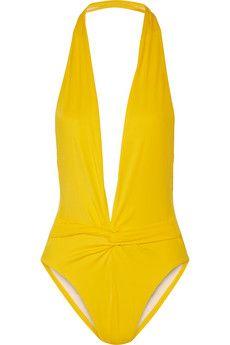 Norma Kamali Twister plunge swimsuit | NET-A-PORTER