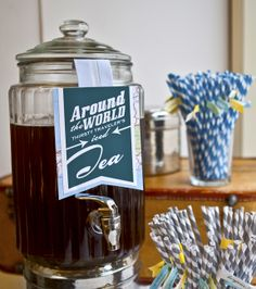 "Thirsty Traveler's Iced Tea, from a drink bar at an 80th birthday we did. ""Around the World in Eighty Years,"" was the theme."
