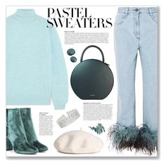 """So Sweet: Pastel Sweaters"" by myduza-and-koteczka on Polyvore featuring Khaite, Prada, Yves Saint Laurent, Anja, Mansur Gavriel, Steve Madden and Napoleon Perdis"