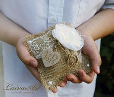 Personalized / Rustic / Wedding / Ring  Pillow / Burlap / Ring Bearer Pillow / Country Wedding   - pinned by pin4etsy.com