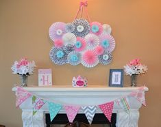 "Photo 1 of 25: Pink, Grey & Aqua  / Baby Shower/Sip & See ""Girl Baby Shower """