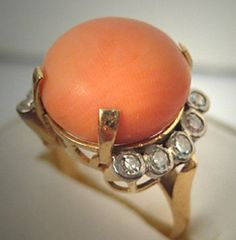 Amazing Coral and Diamond ring..
