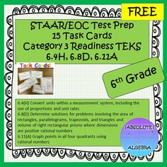 This product has 15 task cards with the following Category 3 READINESS TEKS.  There are 5 of each TEK.   6.4(H) Convert units within a measurement system, including the use of proportions and unit rates 6.8(D) Determine solutions for problems involving the area of rectangles, parallelograms, trapezoids, and triangles and  volume of right rectangular prisms where dimensions are positive rational numbers  6.11(A) Graph points in all four quadrants using rational numbers  Answer Key and Student…