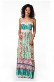Vestido longo geométrico verde