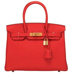 Preowned Hermes Rouge Tomate Togo Birkin 30cm Gold Hardware ($21,850) ❤ liked on Polyvore featuring bags, handbags, multiple, locking purse, hermes handbags, genuine leather handbags, leather purse and leather bags