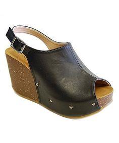 Black Mara Slingback Sandal #zulily #zulilyfinds