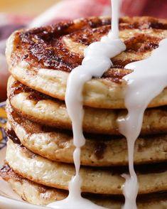 Cinnamon Roll Pancakes With Chloe Coscarelli Recipe by Tasty