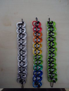 Soda-Energy Drink tab Bracelet by on DeviantArt Soda Tab Crafts, Can Tab Crafts, Fun Crafts, Tape Crafts, Cute Jewelry, Jewelry Crafts, Can Tab Bracelet, Monster Energy Girls, Monster Energy Clothing