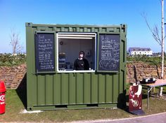 A 10ft container converted  for Heartlands Cornwall. A kitchen/serving area with outdoor seating. Fully lined and insulated with full electrics, vinyl flooring, personnel access and a serving window. Interesting idea for a portable and secure food kiosk.