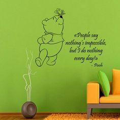 Winnie The Pooh muro decalcomanie parete citazioni bambini vinile adesivo Baby Kids Wall Decor casa Decor vinile Art ragazza ragazzo Nursery Room Decor KG651