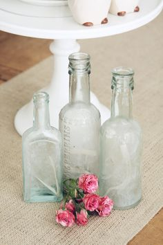 Set of 3 Vintage Bottles-Aqua Bottles, via Etsy.