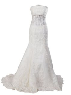 Strapless Allover Lace Mermaid Wedding Gown $299