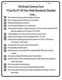"5th Grade Common Core ""I Can"" Math Checklist  Change and use for fourth grade"
