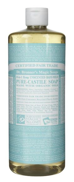 Dr. Bronner's liquid castile soap- This stuff is amazing!  It's the base for foaming soap, shampoo, dish detergent and more. I have tried other brands, but nothing works as well at Dr. Bonners. I always buy the unscented kind and then add the essential oils.  click image for info on where to buy