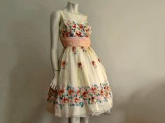 1950s Dress / 50s Dress / Hand Painted Silk by AntiqueGraces