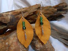 Beautiful OOAK Leather Leaf Gemstone by FaerieTeaAndTreasure, $17.50
