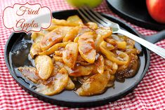 Fried apples are the essence of apple pie, except somehow better. The butter and sugars form a caramelized syrup as the apples cook. Be sure to drizzle it over the apples before serving. Stewed Apples Recipe, Cooked Apples, Side Recipes, Apple Recipes, Real Food Recipes, Apple Desserts, Easy Ratatouille Recipes, Cracker Barrel Fried Apples, Yellow Split Pea Soup
