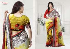 Suitsvilla Multi color Fabulous Georgette Printed Saree Online,Fabulous Georgette Printed Saree Online, It provides you a rare and precious collection of Printed Saree. All the Printed Saree displayed on this website are carefully collected. The sarees are the prized possession of any woman fancying wearing a saree. The sarees are made in beautifully coloured silk clothes with complex, dense, intricate and beautiful figural or geometrical decorations.