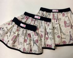 Eiffel Tower handmade 100% cotton skirt. Sizes 2-6.