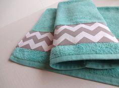 Grey Chevron and Aqua towel set, set of 2, hand towel, aqua bathroom, grey chevron, chevron towels, towel set. bathroom decor, aqua and grey